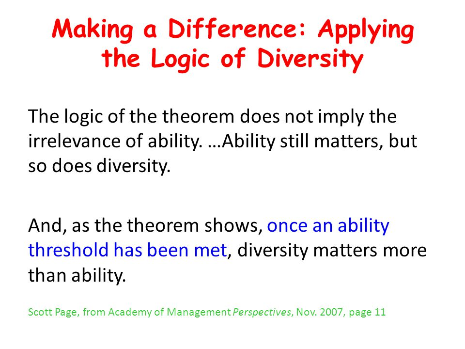 Making a Difference: Applying the Logic of Diversity