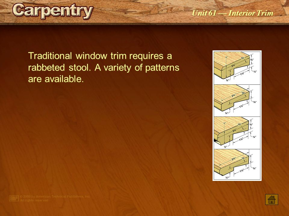 Traditional window trim requires a rabbeted stool