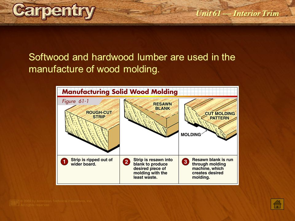 Softwood And Hardwood Lumber Are Used In The Manufacture Of Wood Molding.