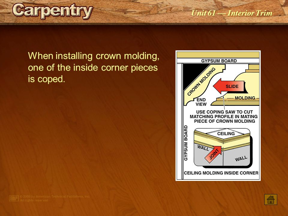 When installing crown molding, one of the inside corner pieces is coped.