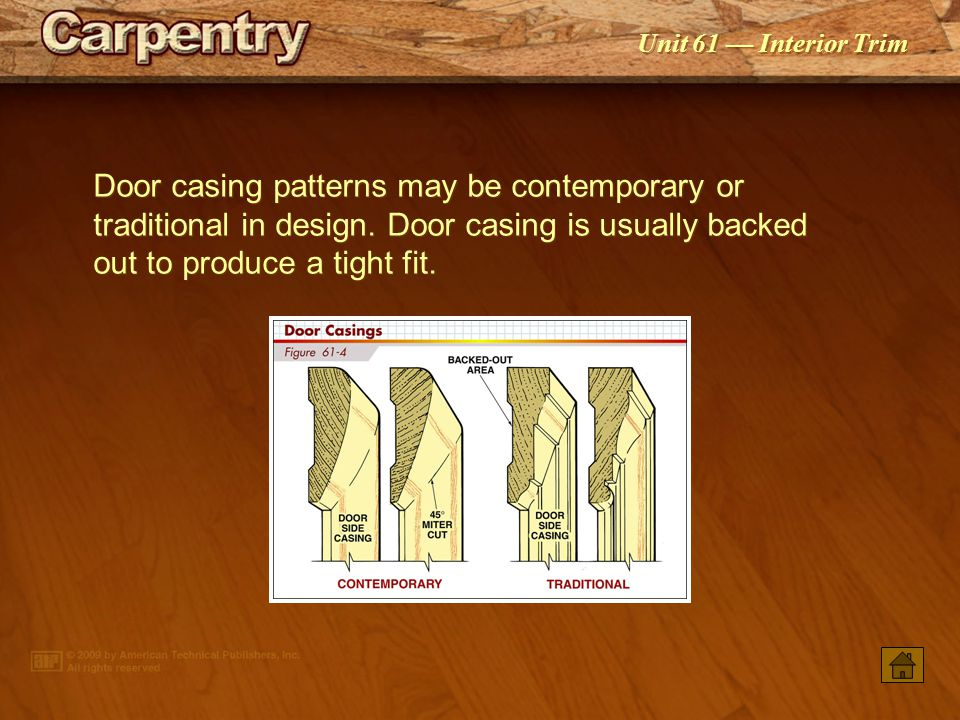 Door casing patterns may be contemporary or traditional in design