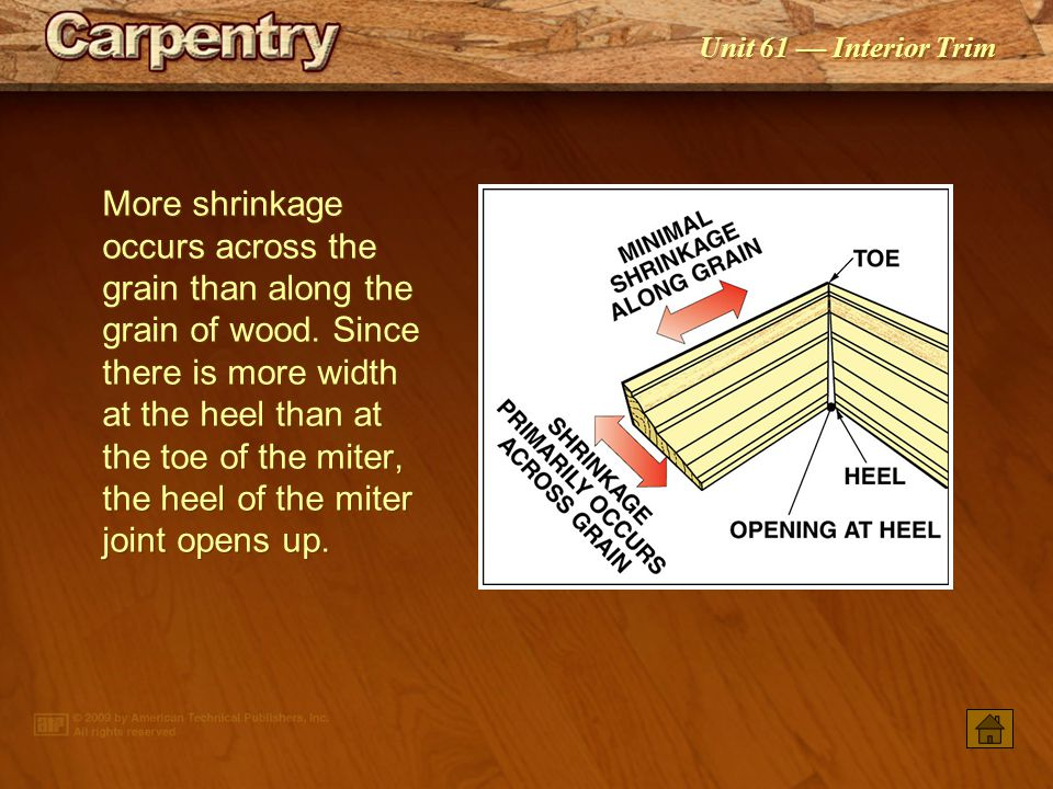 More shrinkage occurs across the grain than along the grain of wood