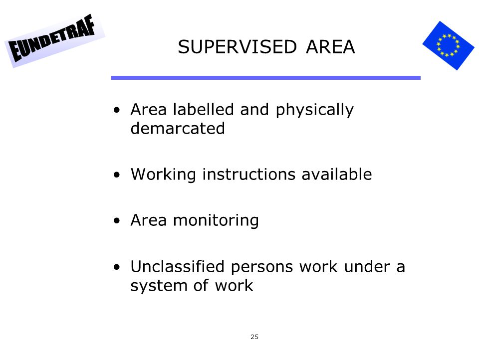SUPERVISED AREA Area labelled and physically demarcated