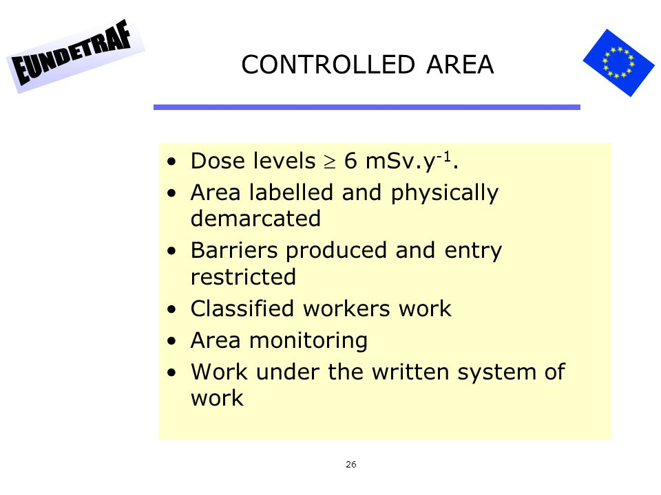 CONTROLLED AREA Dose levels  6 mSv.y-1.