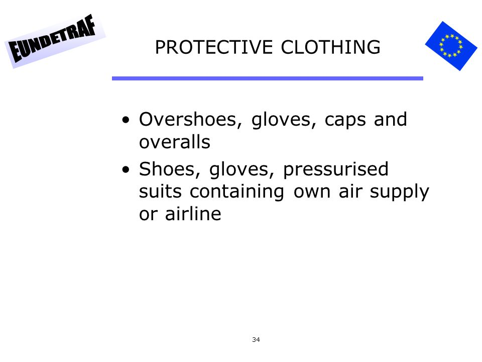 PROTECTIVE CLOTHING Overshoes, gloves, caps and overalls.