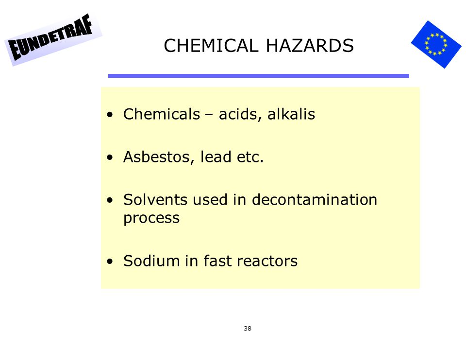 CHEMICAL HAZARDS Chemicals – acids, alkalis Asbestos, lead etc.