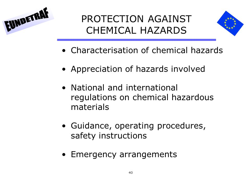 PROTECTION AGAINST CHEMICAL HAZARDS