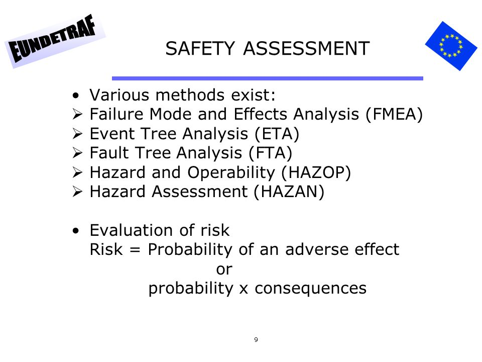 SAFETY ASSESSMENT Various methods exist: