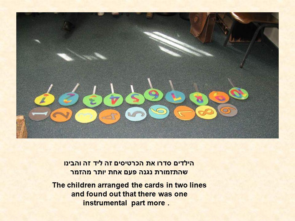 הילדים סדרו את הכרטיסים זה ליד זה והבינו שהתזמורת נגנה פעם אחת יותר מהזמר