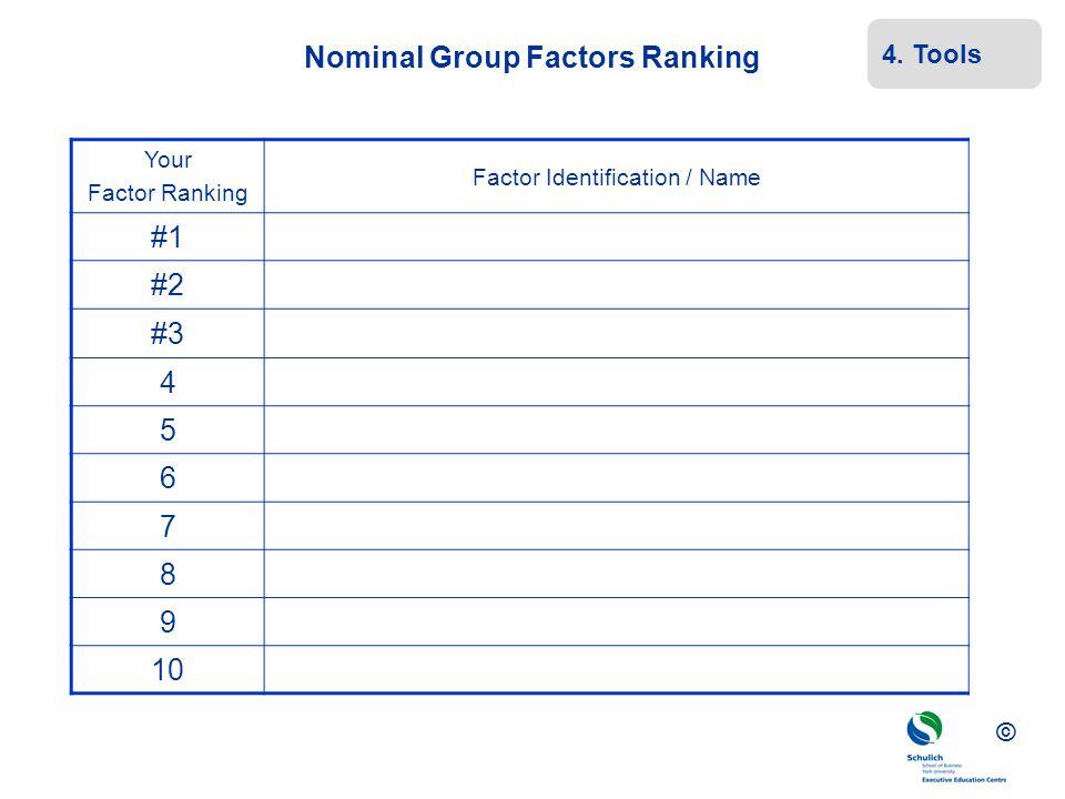 Nominal Group Factors Ranking