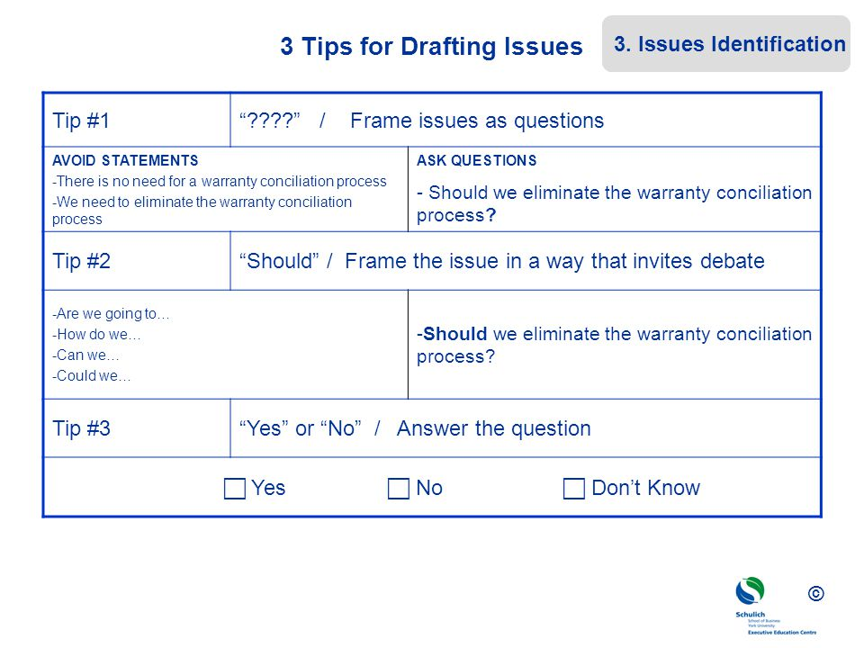 3 Tips for Drafting Issues