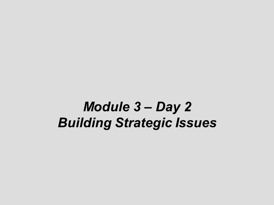 Building Strategic Issues