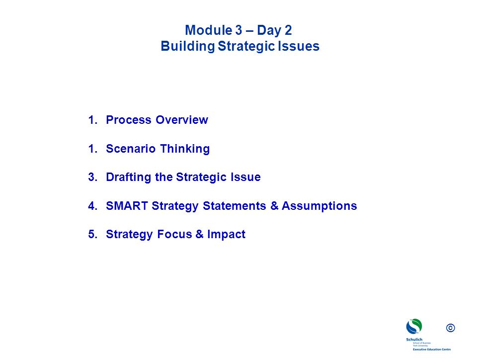 Module 3 – Day 2 Building Strategic Issues