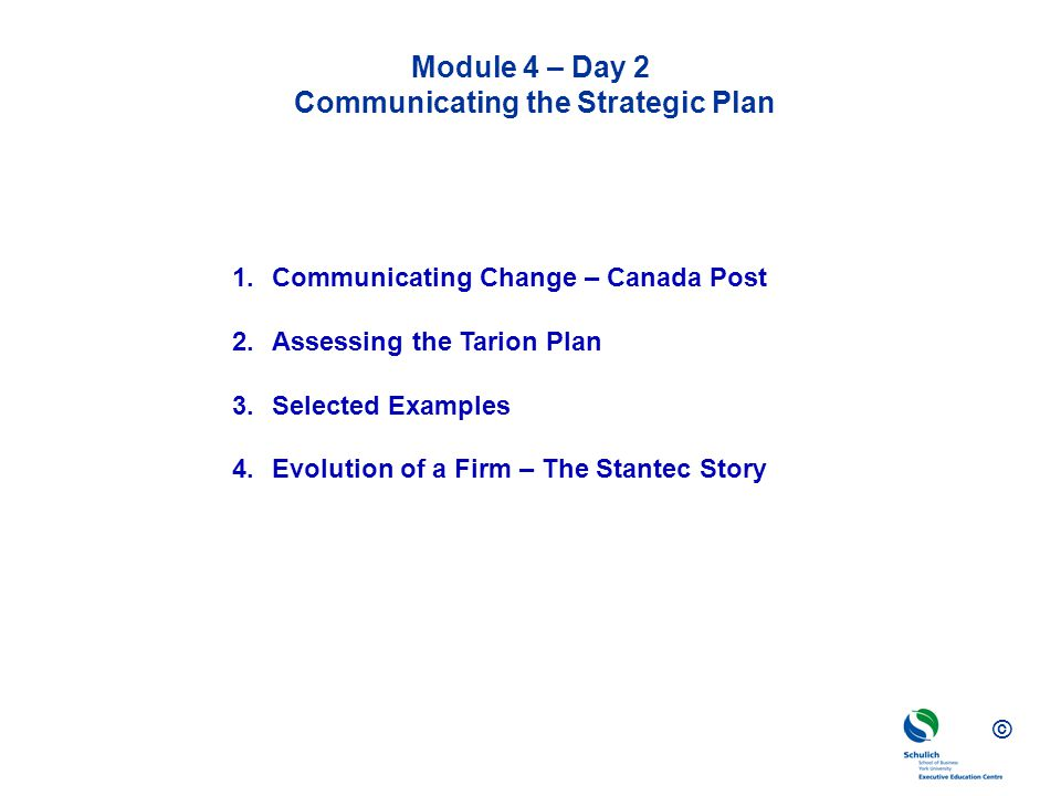 Module 4 – Day 2 Communicating the Strategic Plan