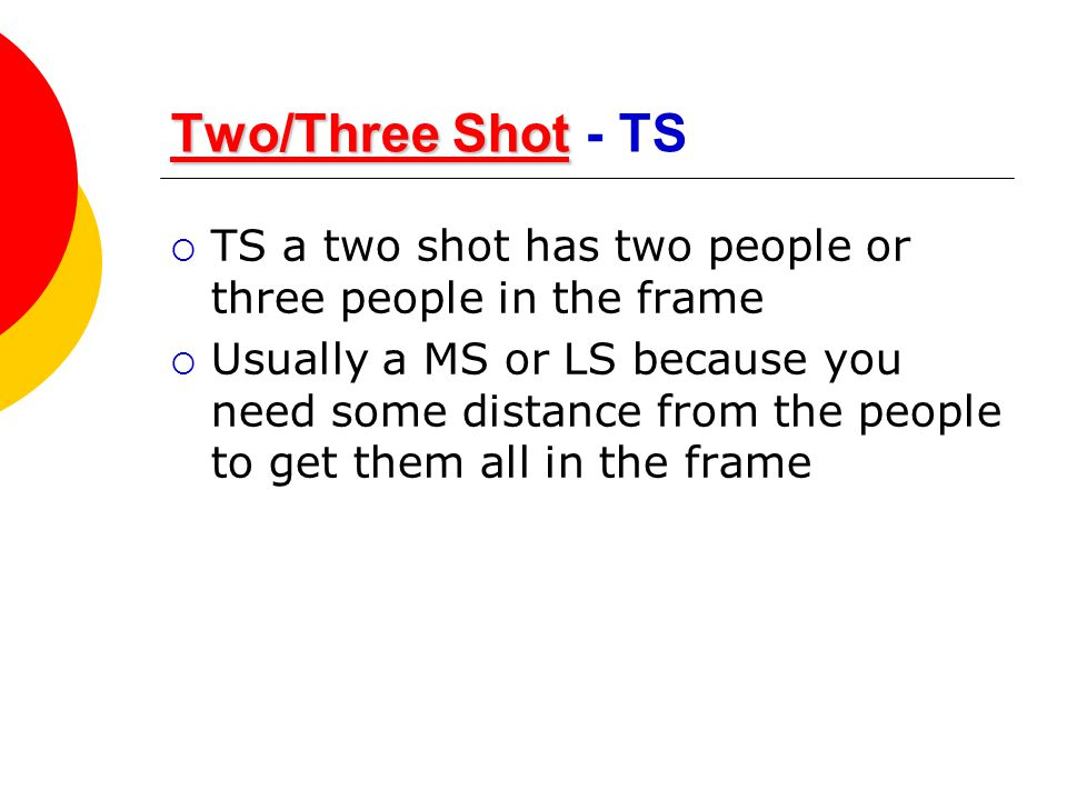 Two/Three Shot - TS TS a two shot has two people or three people in the frame.