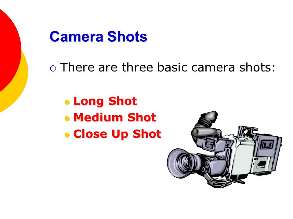 Camera Shots There are three basic camera shots: Long Shot Medium Shot