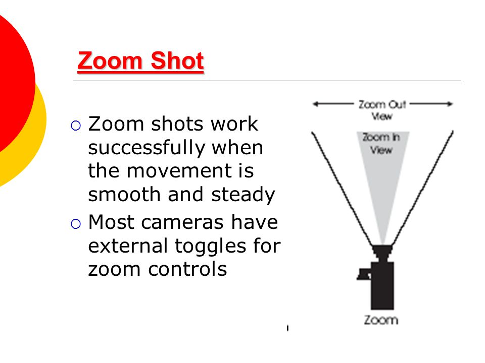 Zoom Shot Zoom shots work successfully when the movement is smooth and steady.
