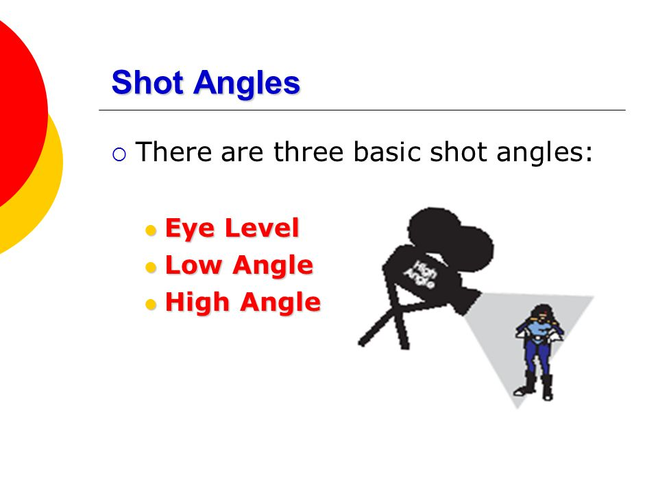 Shot Angles There are three basic shot angles: Eye Level Low Angle