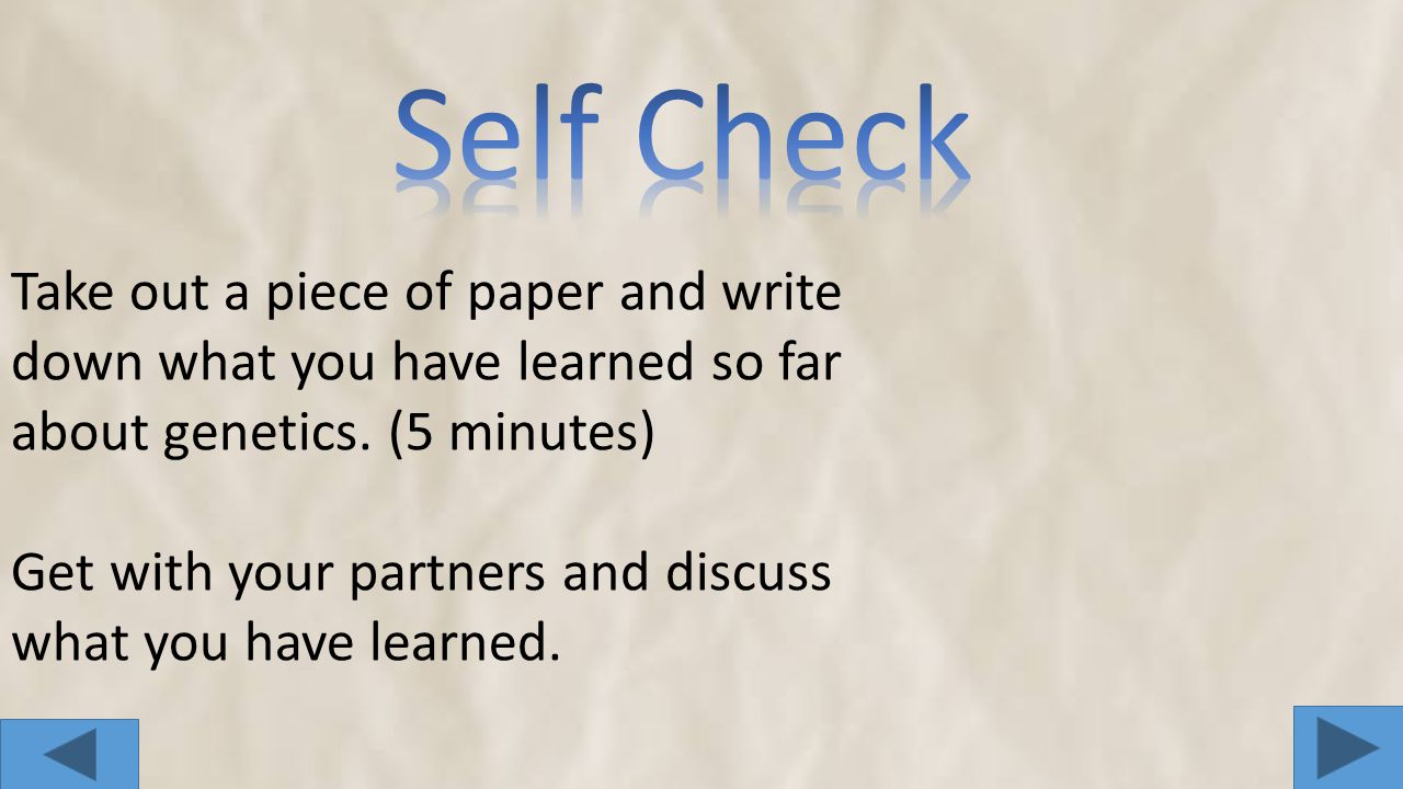 Self Check Take out a piece of paper and write down what you have learned so far about genetics. (5 minutes)