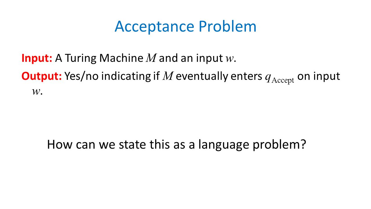 Acceptance Problem How can we state this as a language problem