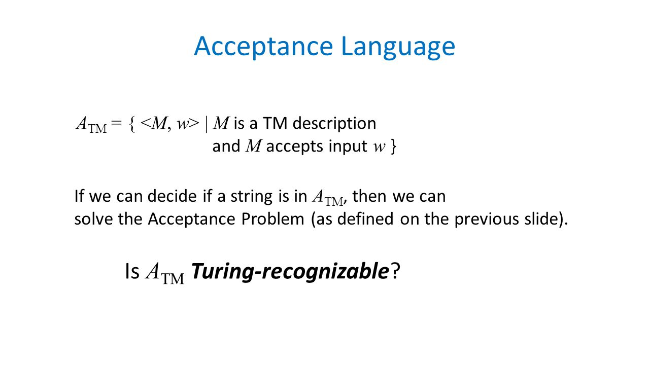 Acceptance Language Is ATM Turing-recognizable