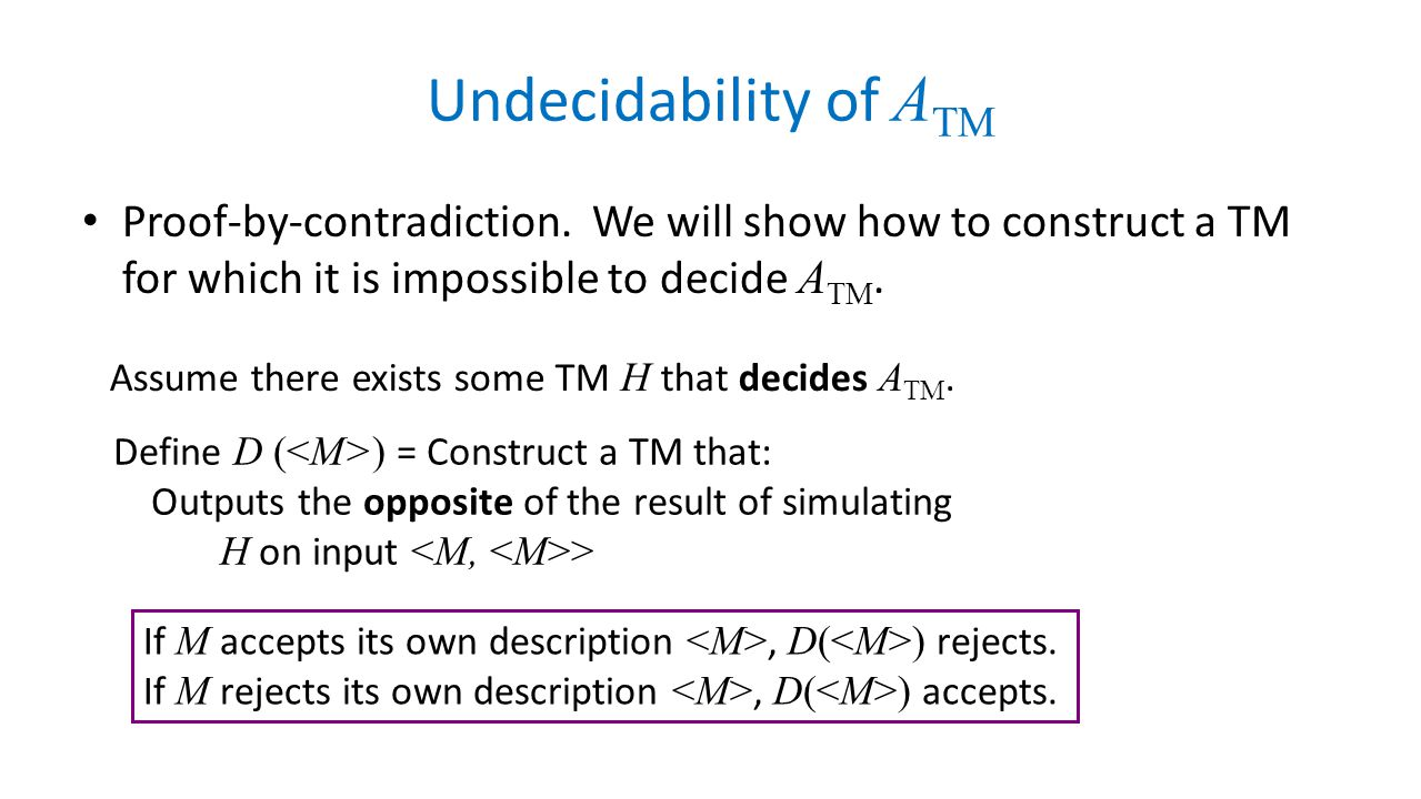 Undecidability of ATM Proof-by-contradiction. We will show how to construct a TM for which it is impossible to decide ATM.