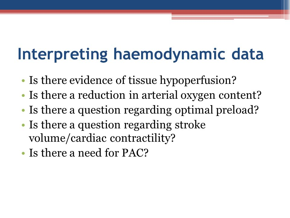Interpreting haemodynamic data