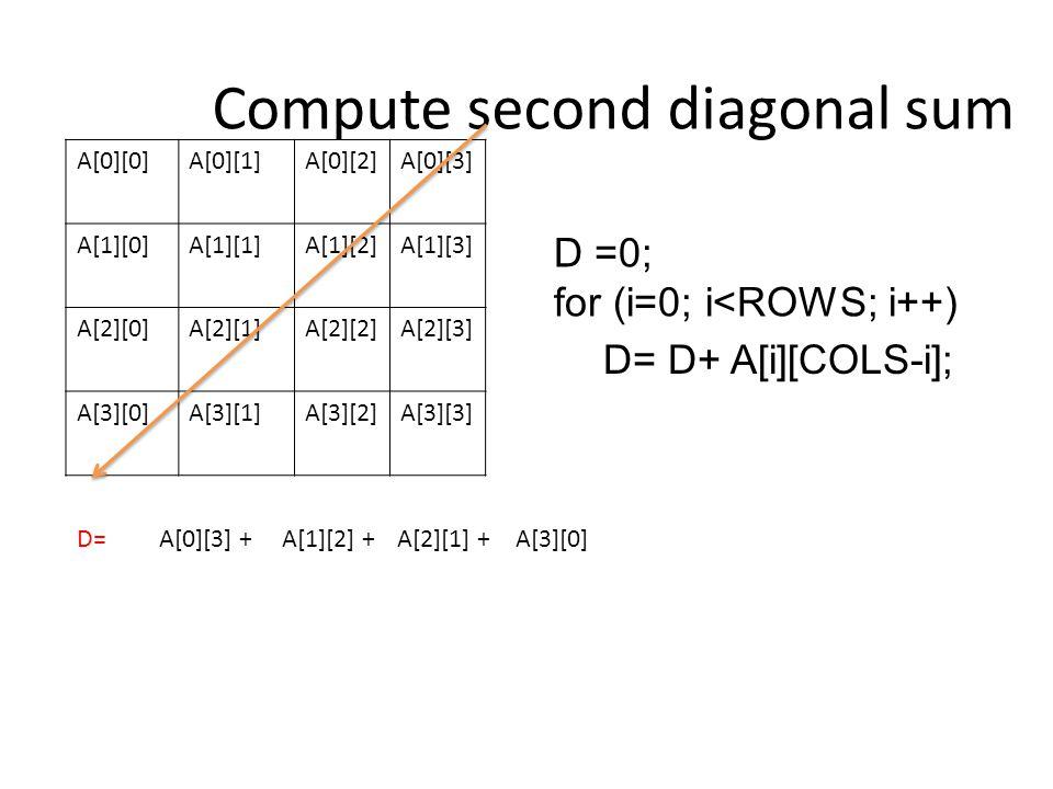 Compute second diagonal sum