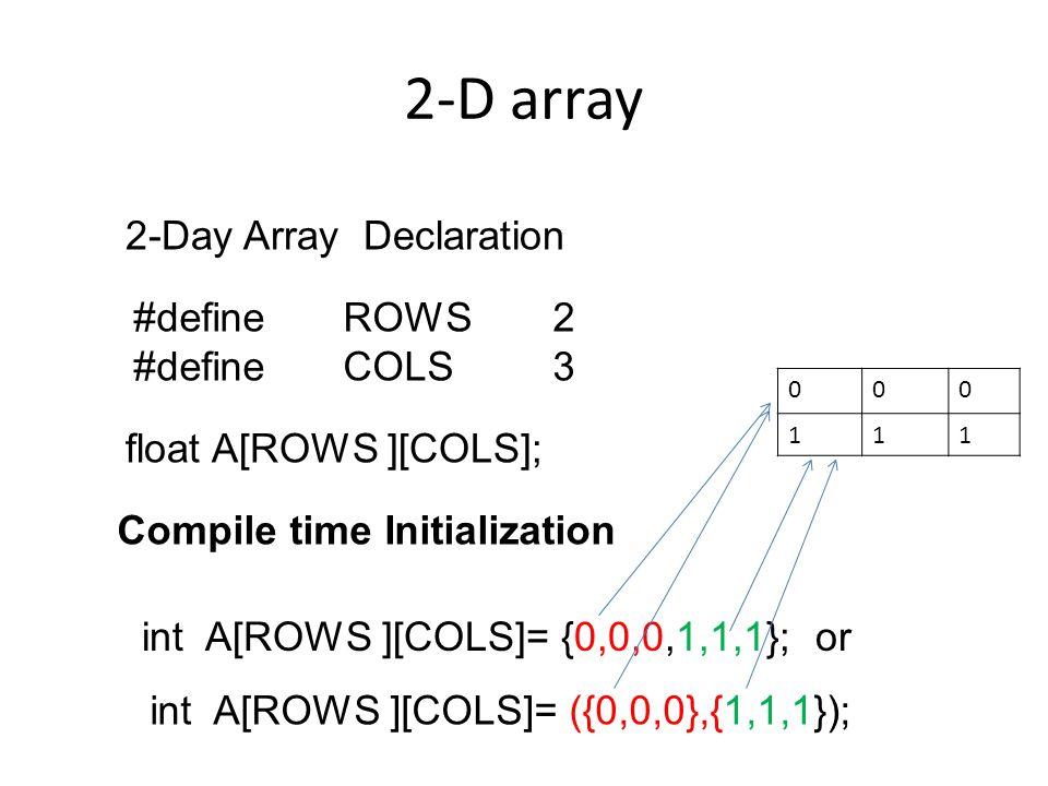 2-D array 2-Day Array Declaration #define ROWS 2 #define COLS 3