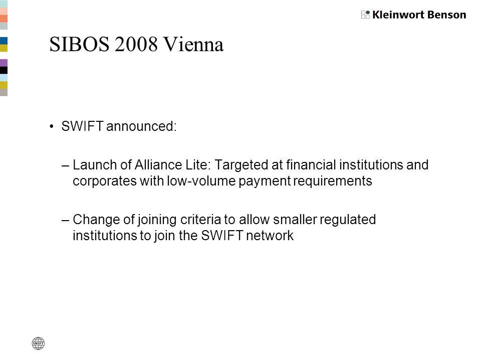 SIBOS 2008 Vienna SWIFT announced: