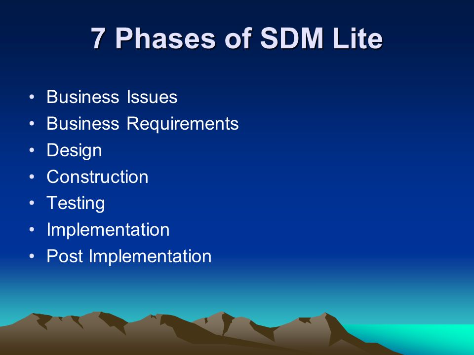7 Phases of SDM Lite Business Issues Business Requirements Design