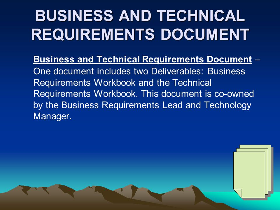 BUSINESS AND TECHNICAL REQUIREMENTS DOCUMENT