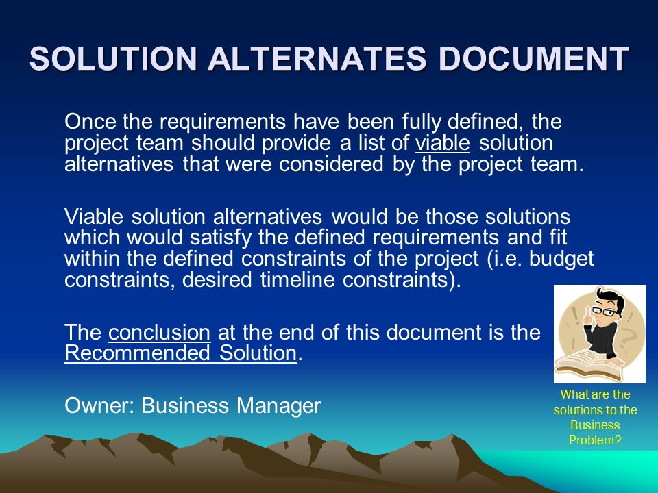 SOLUTION ALTERNATES DOCUMENT