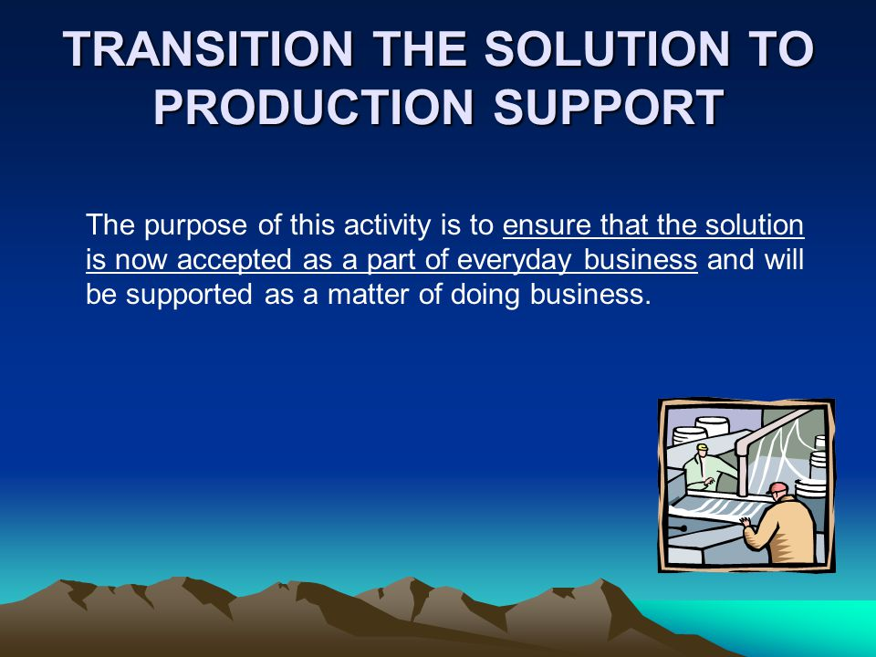 TRANSITION THE SOLUTION TO PRODUCTION SUPPORT