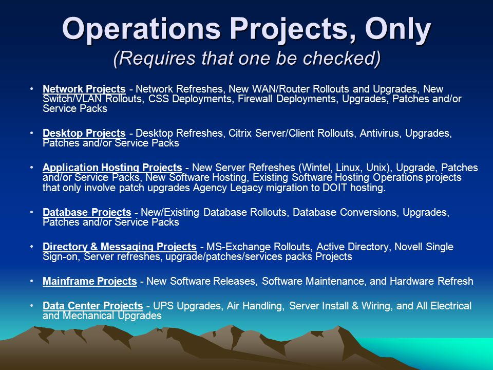 Operations Projects, Only (Requires that one be checked)