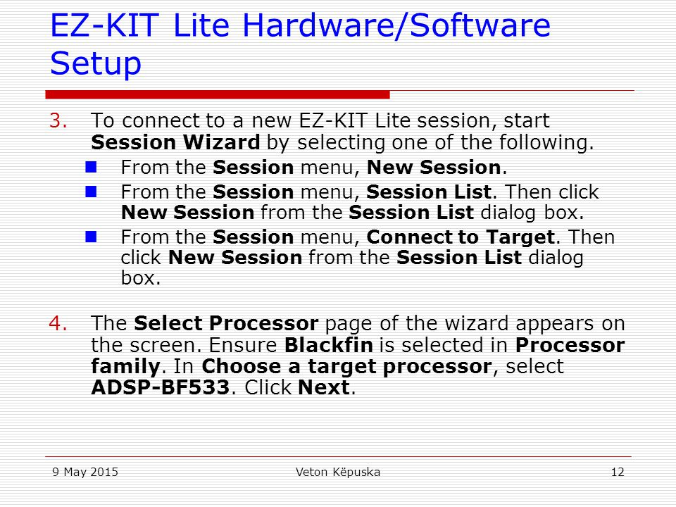 EZ-KIT Lite Hardware/Software Setup
