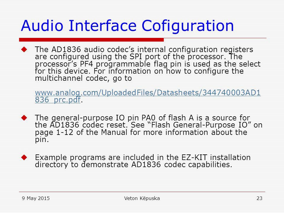 Audio Interface Cofiguration