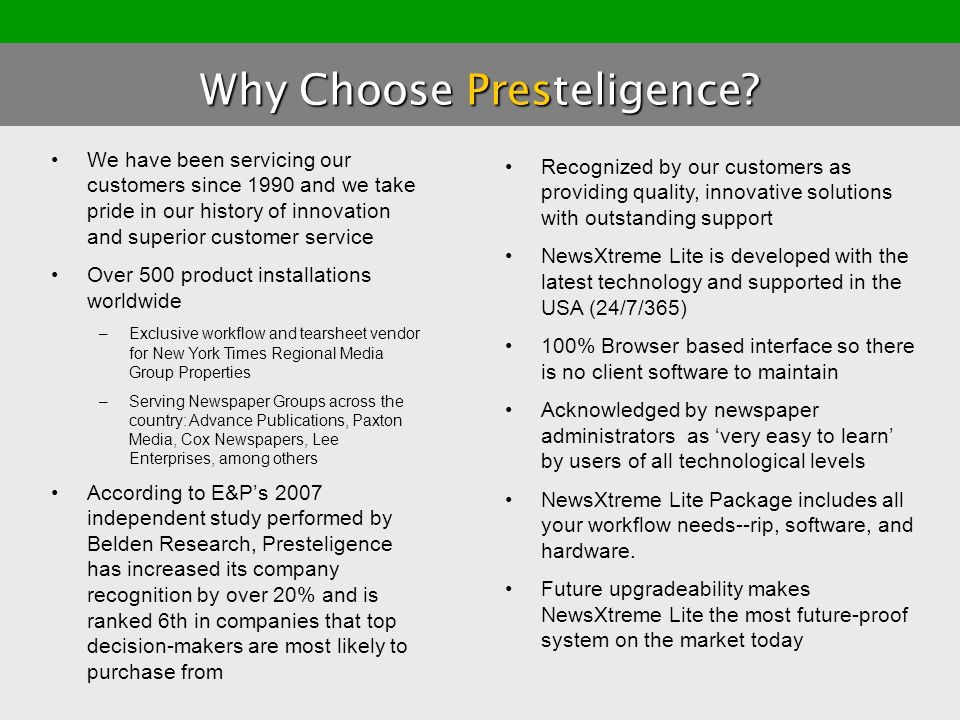 Why Choose Presteligence