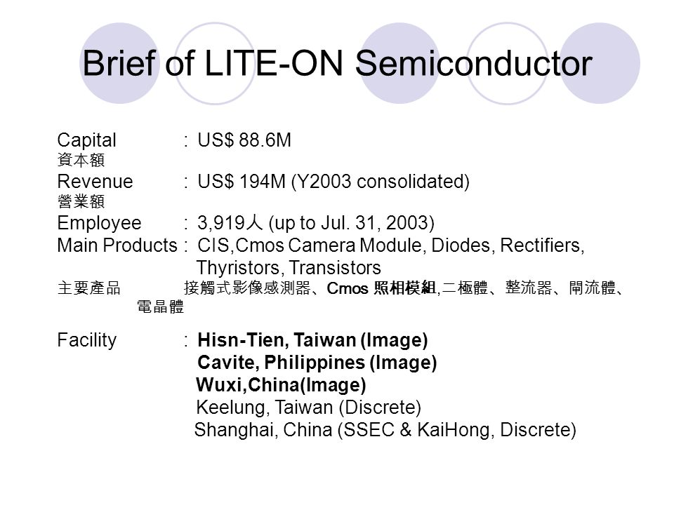 Brief of LITE-ON Semiconductor