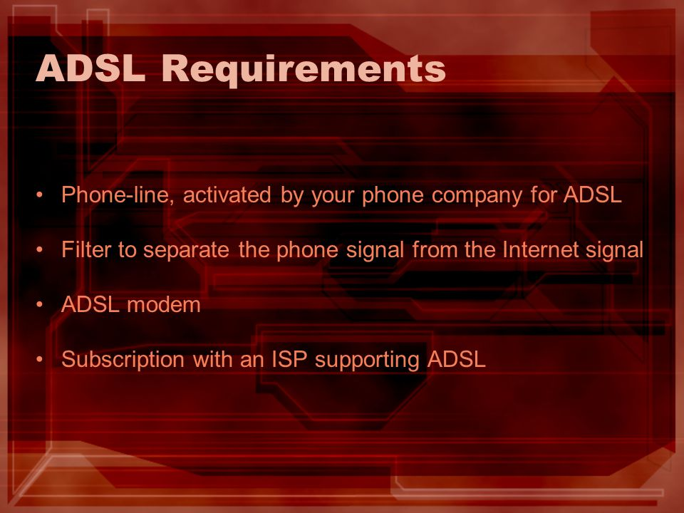 ADSL Requirements Phone-line, activated by your phone company for ADSL