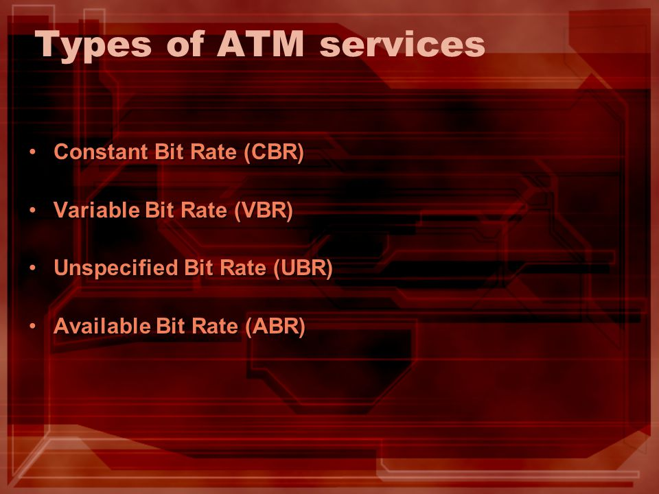 Types of ATM services Constant Bit Rate (CBR) Variable Bit Rate (VBR)