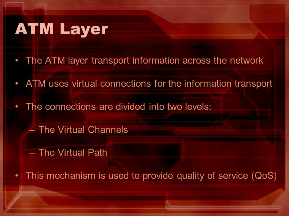 ATM Layer The ATM layer transport information across the network