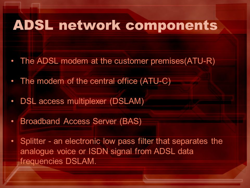 ADSL network components