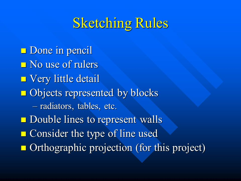 Sketching Rules Done in pencil No use of rulers Very little detail