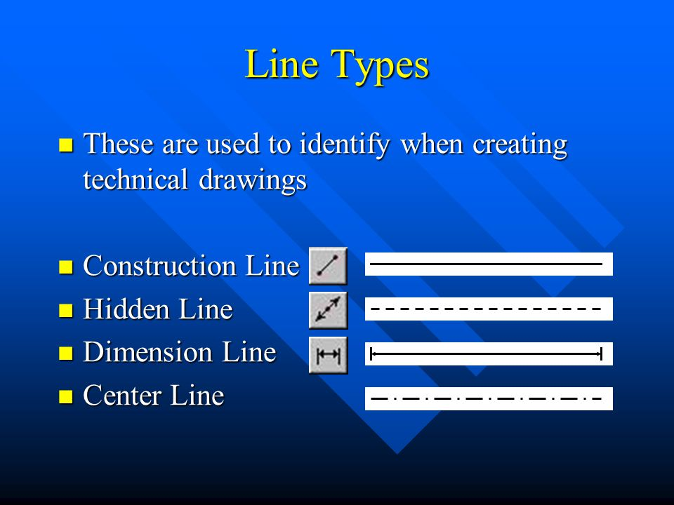 Line Types These are used to identify when creating technical drawings