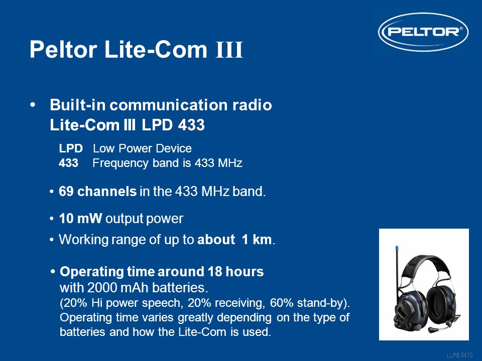 Peltor Lite-Com III Built-in communication radio Lite-Com III LPD 433