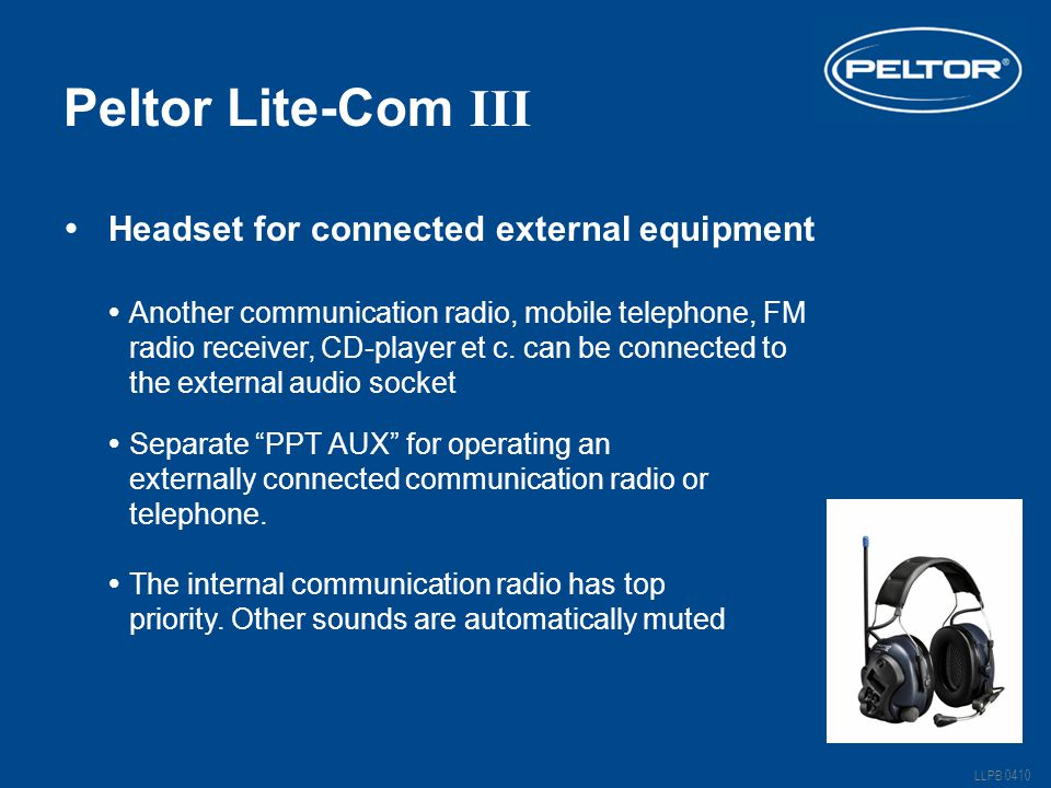 Peltor Lite-Com III Headset for connected external equipment