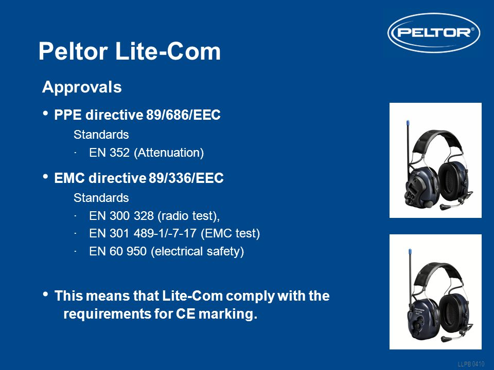 Peltor Lite-Com PPE directive 89/686/EEC EMC directive 89/336/EEC