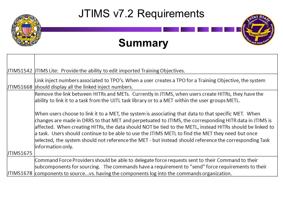 JTIMS v7.2 Requirements Summary JTIMS1542