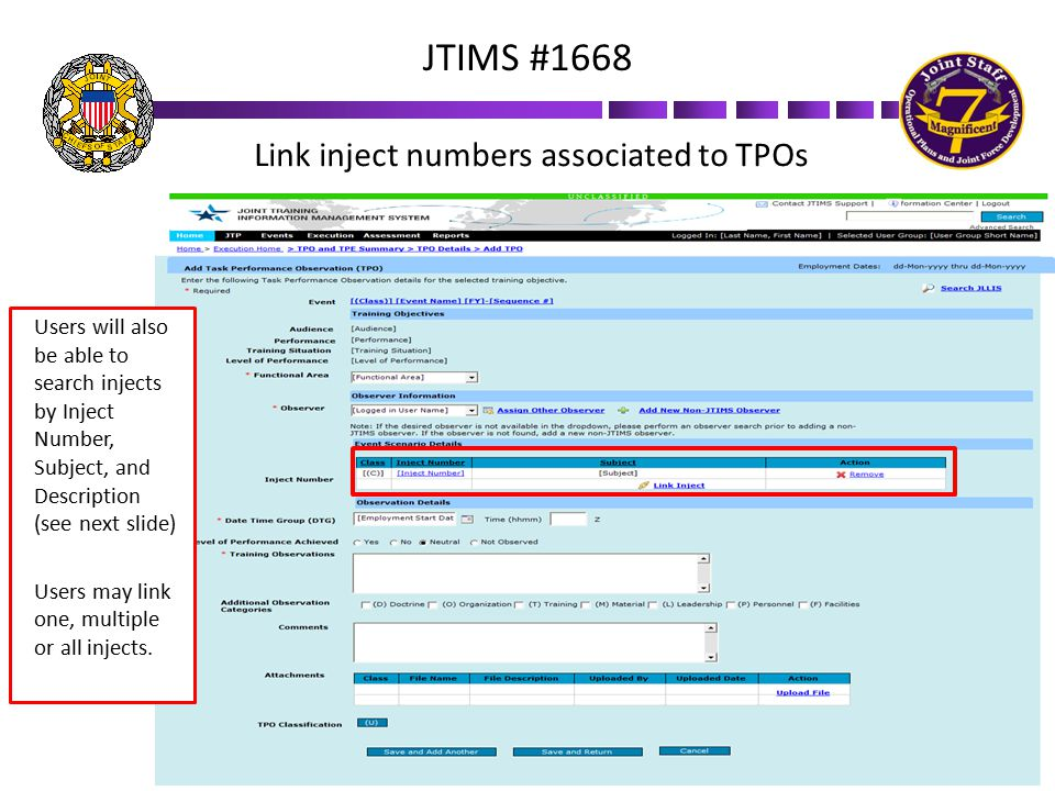 Link inject numbers associated to TPOs